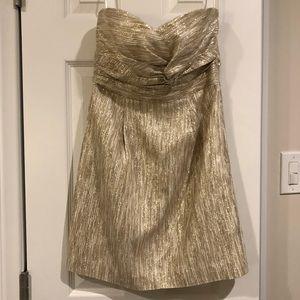 Tibi Gold Metallic Strapless Party Dress